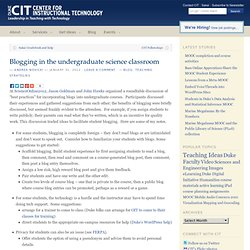 Blogging in the undergraduate science classroom