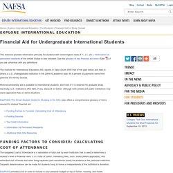 Financial Aid for Undergraduate International Students