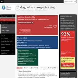 Medical Genetics,C431 - Undergraduate prospectus 2017