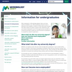 Careers - Information for undergraduates
