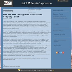 Find the Best Underground Construction Company - Bolat
