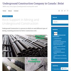 Rock Support in Mining and Underground Construction – Underground Construction Company in Canada | Bolat