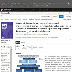 Nature of the evidence base and frameworks underpinning dietary recommendations for prevention of non-communicable diseases: a position paper from the Academy of Nutrition Sciences
