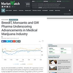 BreedIT, Monsanto and GW Pharma Underscoring Advancements in Medical Marijuana Industry