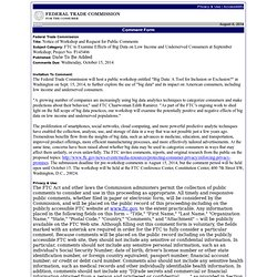 FTC to Examine Effects of Big Data on Low Income and Underserved Consumers at September Workshop; Project No. P145406