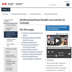 Understand how health care works in Canada