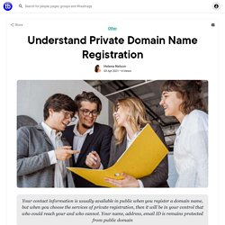 Understand Private Domain Name Registration