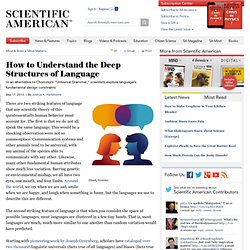 How to Understand the Deep Structures of Language