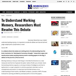 To Understand Working Memory, Researchers Must Resolve This Debate