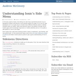 Understanding Ionic's Side Menu - Andrew McGivery