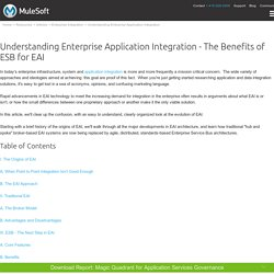 Understanding Enterprise Application Integration - The Benefits of ESB for EAI
