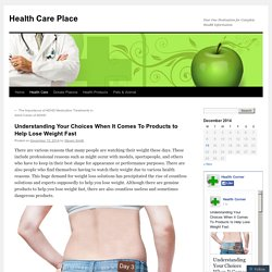Understanding Your Choices When It Comes To Products to Help Lose Weight Fast