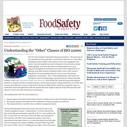 "FOOD SAFETY MAGAZINE - JUNE/JULY 2013 - Understanding the ""Other"" Clauses of ISO 22000"