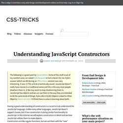 Understanding JavaScript Constructors