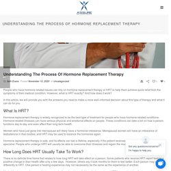 Understanding The Process Of Hormone Replacement Therapy - Coolscultping, Weight Loss, HRT