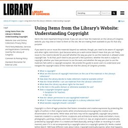 Using Items from the Library's Website: Understanding Copyright