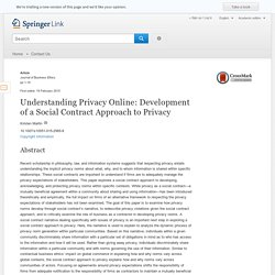 Understanding Privacy Online: Development of a Social Contract Approach to Privacy