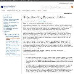 Understanding Dynamic Update