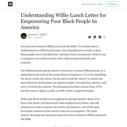 Understanding Willie Lunch Letter for Empowering Poor Black People In America