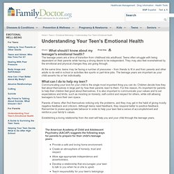 Understanding Your Teenager's Emotional Health