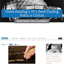 Understanding a VC's Seed Funding Policy is Critical | Both Sides of the Table