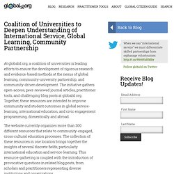 Coalition of Universities to Deepen Understanding of International Service, Global Learning, Community Partnership on globalsl.org