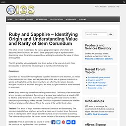 Ruby and Sapphire - Identifying Origin and Understanding Value and Rarity of Gem Corundum