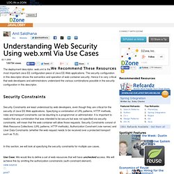 Understanding Web Security Using web.xml Via Use Cases