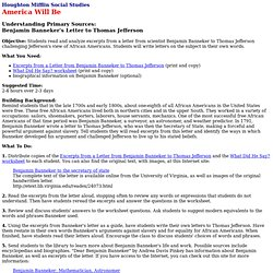 Understanding Primary Sources: Benjamin Banneker's Letter to Thomas Jefferson