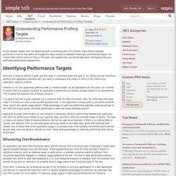 Understanding Performance Profiling Targets