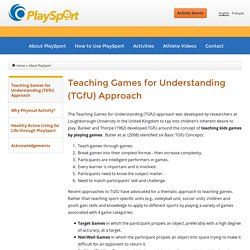 Teaching Games for Understanding (TGfU) Approach | PlaySport