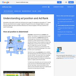 Understanding ad position and Ad Rank - AdWords Help