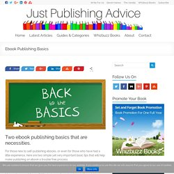 Understanding Two Ebook Self Publishing Basics
