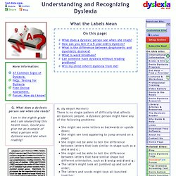 Understanding and Recognizing Dyslexia