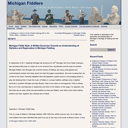 Michigan Fiddle Style: A Written Excercise Towards an Understanding of Stylistics and Regionalism in Michigan Fiddling