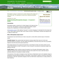 Understanding Rhinoplasty Surgery – A Layman's Guide