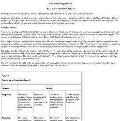 Understanding Rubrics by Heidi Goodrich Andrade