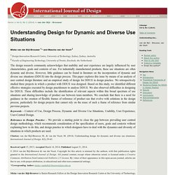 Understanding Design for Dynamic and Diverse Use Situations