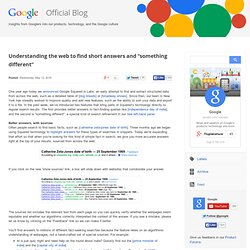 "Understanding the web to find short answers and ""something diffe"