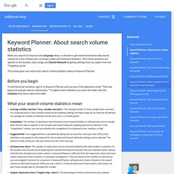 Understanding your Keyword Planner statistics and traffic forecasts - AdWords Help