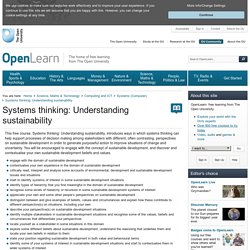 Systems thinking: Understanding sustainability - OpenLearn - Open University - T306_3