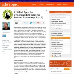 K-5 iPad Apps for Understanding: Part Two of Bloom's Revised Taxonomy