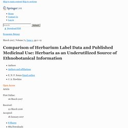 Comparison of Herbarium Label Data and Published Medicinal Use: Herbaria as an Underutilized Source of Ethnobotanical