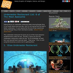 Underwater Restaurant List: 6 of The Most Awesome - Cool Gizmo Toys