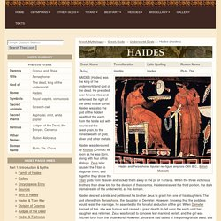 HADES : Greek king of the underworld, god of the dead ; mythology ; pictures : HAIDES, PLUTO