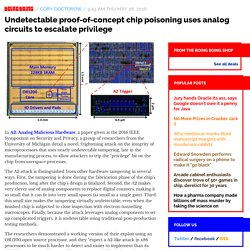 Undetectable proof-of-concept chip poisoning uses analog circuits to escalate privilege / Boing Boing