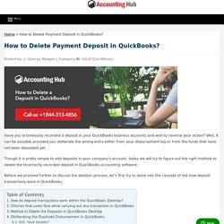 How to Undo a Deposit in QuickBooks: ☎1844 313 4856