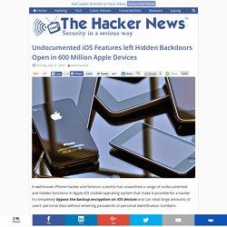 Undocumented iOS Features left Hidden Backdoors Open in 600 Million Apple Devices
