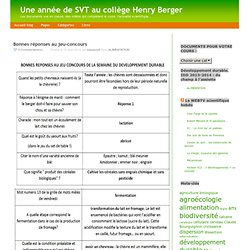 Une année de SVT au collège Henry Berger