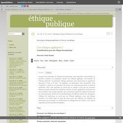 Une éthique appliquée - journals.openedition.org